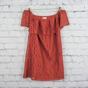 No Comment off-the-shoulder crochet lace dress